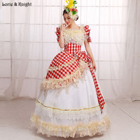 Rouge et Blanc Plaid Princesse Royale Robes De Bal Pageant Robe Mascarade Robe De Bal Quinceanera Robe