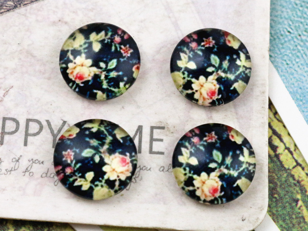 New Fashion  20pcs 12mm Handmade Photo Glass Cabochons  E2-71
