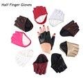 Модные перчатки на полпальца из искусственной кожи, женские митенки без пальцев для вождения, красивые аксессуары для одежды, однотонные