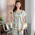 Floral ropa de Dormir Femenina 2017 Del Verano 100% Algodón Delgada Pantalones Largos de Manga Corta de Encaje Princesa Linda Pijamas Conjunto de Salón Dulce