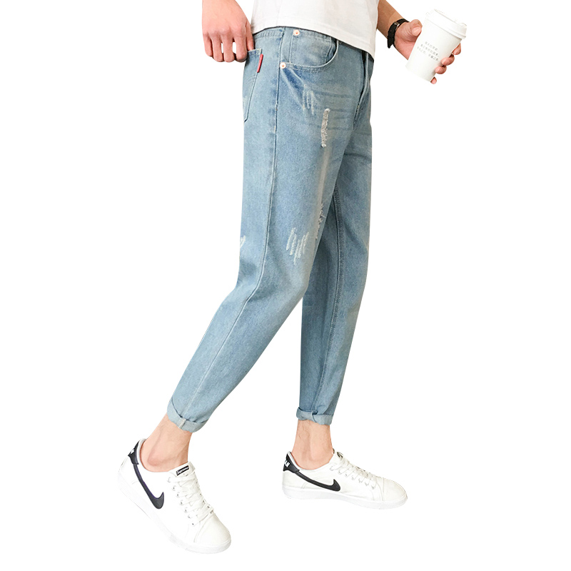 2018 New Men jeans Fashion Hole Calf-Length Pants Men Casual Slim fit Straight High Feet ...