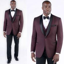 Dark Wine Red Mens Groom Tuxedos Groomsmen Morning Style Best man Suits Custom