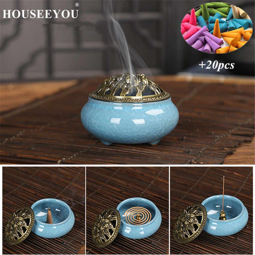 Houseyou керамические горелки для благовоний портативный фарфоровый курильщик буддизм ладан держатель дома Чайный дом Йога Студия 20 шт. конусы подарок
