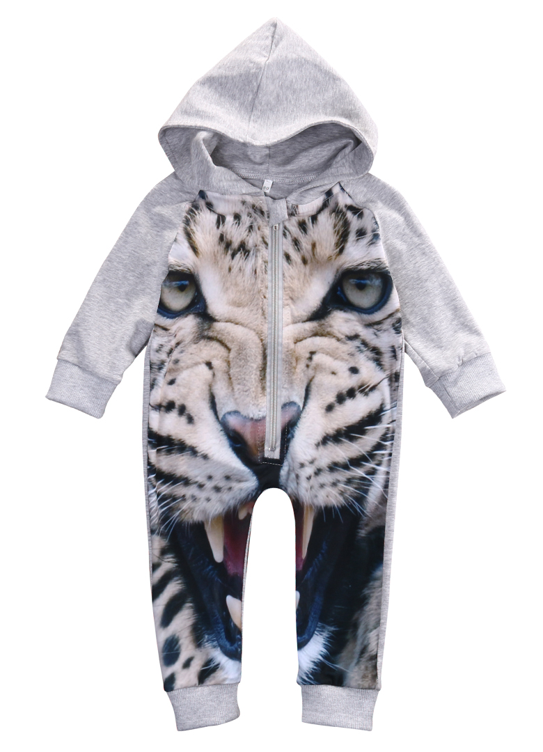 Cute Newborn Romper Infant Kids 3D Tiger Print Rompers Long Sleeve Baby Boys Girls Outfits Jumpsuit Clothes cotton i must go print newborn infant baby boys clothes summer short sleeve rompers jumpsuit baby romper clothing outfits set