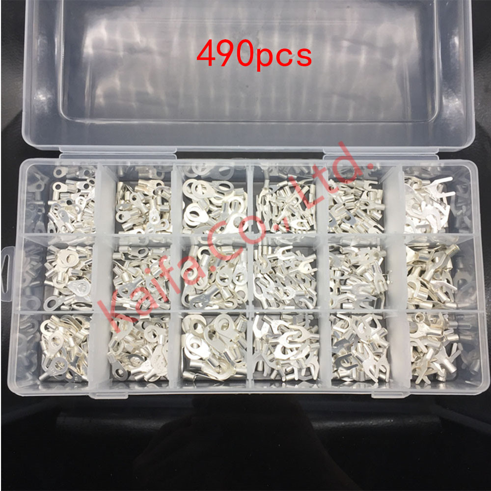 490Pcs/ lots 18 type Cold naked terminal Non-Insulated Ring Fork O/Y/U-type Terminals Assortment Kit Cable Crimp Spade Connector free shipping 5pcs lots sg 160 200 iso6431 cylinder attachment y type joint u joints y
