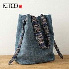 AETOO Original vintage Shoulder bag Cotton linen Womens large capacity handbag good canvas bags women