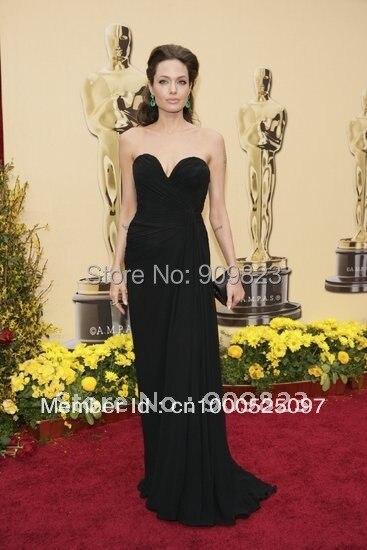 Oscar Awards Angelina Jolie Sweethear Simple Ruffles A Line Chiffon