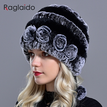 Raglaido winter hats for girls women's fur hat real rex rabbit Cap floral Knitted Hat with balls skulls beanies 55-59cm LQ11280 - discount item  44% OFF Hats & Caps