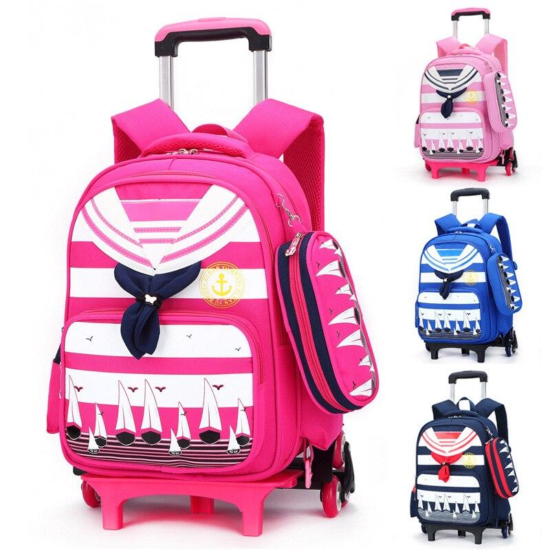 Детская школьная сумка тележка колесных школьная сумка Grils дети Начальная Школа ранец ученический Рюкзаки Сумки путешествия Чемодан рюкза...