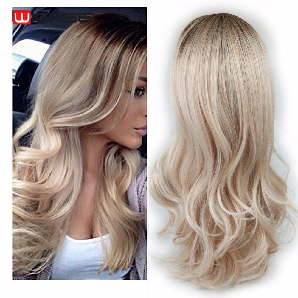 Wignee largo Ombre marrón rubio ceniza de alta densidad, temperatura peluca sintética negro/blanco las mujeres sin costuras ondulado Cosplay cabello peluca