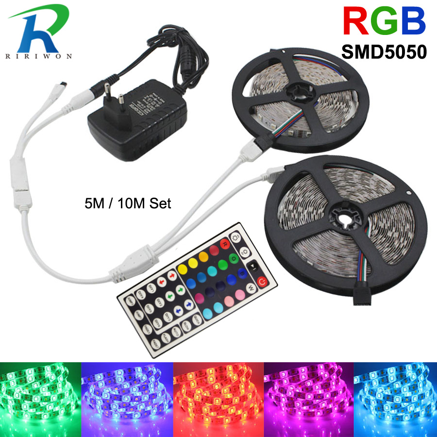 RGB LED Strip Light 12V SMD 5050 Flexible Ribbon Stripe DC 12V RGB Diode Tape fita de 5M 10M 15M dengan IR Adapter Pengawal Set