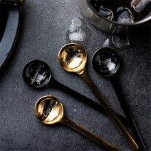 Винтажные 304 круглые чайные ложки для кофе, мороженого, фруктов, десерта, ложка из розового золота, чайные ложки, посуда, шикарная посуда, 1 шт