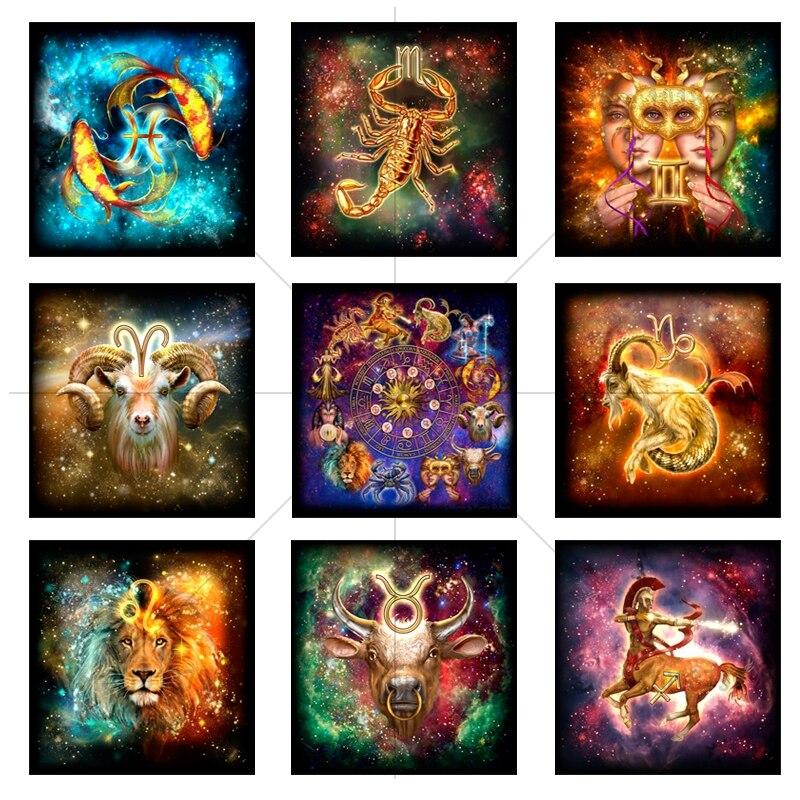 5D Diamond Embroidery 12 zodiac signs Diy Diamond Painting Cross Stitch Crafts Square Diamond Mosaic Pattern Decor