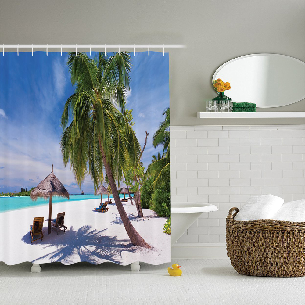 Coastal Tropical Island Lagoon Idyllic Deck Chairs under Palm Trees Sunny Day Picture Polyester Bathroom Shower Curtain