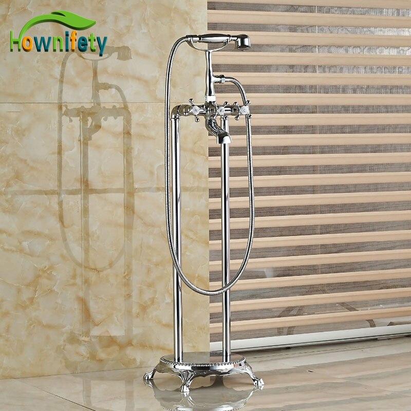 Newly Chrome Finish Bathtub Faucet Floor standing Tub Tap W/Hans Shower Tap Mixer Faucet Double Handles