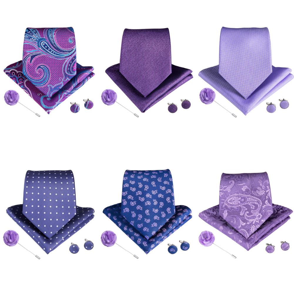 12 Styles Purple Men's Tie With Handkerchief Cufflinks Brooch Set 100% Silk Neck Ties For Men Wedding Party Business Gravatas