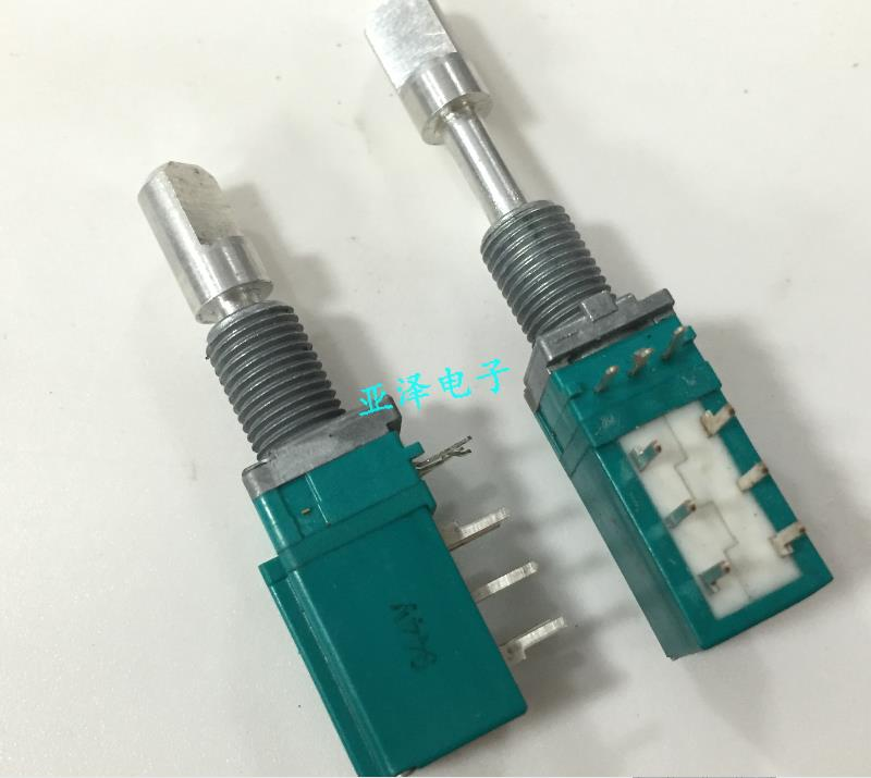 2PCS/LOT ALPS Alpine vertical encoder with push and pull shafts, double self-locking switches, 30 positioning points, 15 pulse p waterproof connectors 8pins fgg 1k 308 clad egg 1k 308 cll push pull self locking connector plugs and sockets 8pins