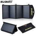 Suaoki 25 w cuádruple cargador del panel solar de alta eficiencia de doble puerto cargador plegable portátil con tecnología de tir-c