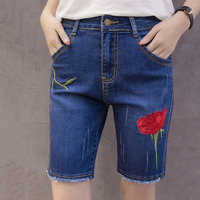 Flower Embroidery Summer Short Jeans Fashion Burr Ladies Shorts Casual Large Sizes Denim Shorts For Women