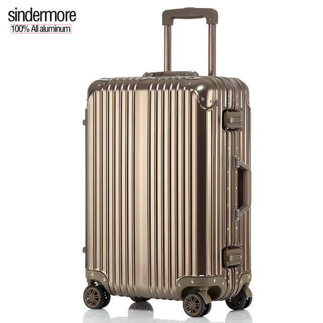 "sindermore 20"" 24"" 100% aluminum luggage suitcase Business high-end travel Multi Wheel carry-on cabin travel uggage suitcase"