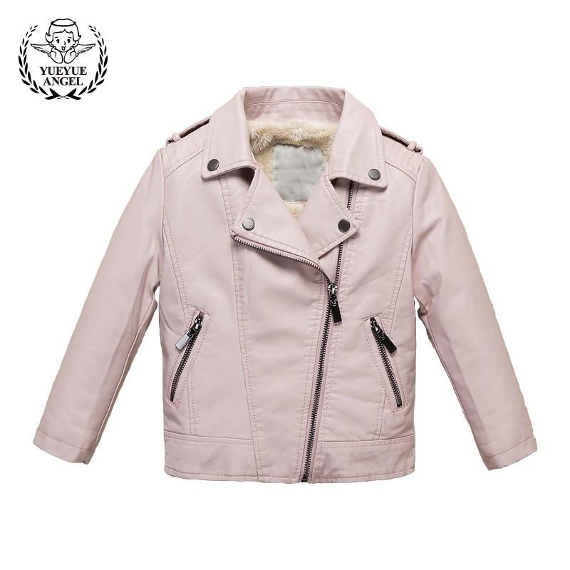Winter Kids Fleece Lining Warm Pu Leather Jacket For Girl Boy Lapel Collar Slim Fit Outwear Coat Children Windbreaker Jackets