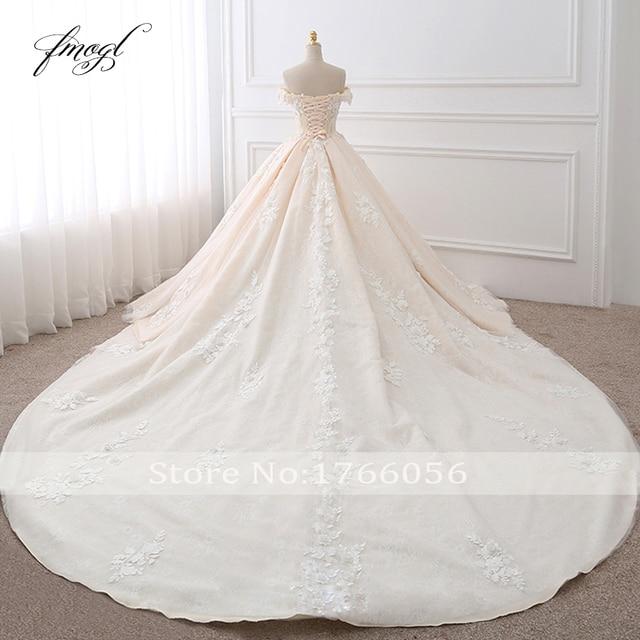 Fmogl Royal Train Sweetheart Ball Gown Wedding Dresses 2021 Appliques Flowers Vintage Lace Bride Gowns Vestido De Noiva 2