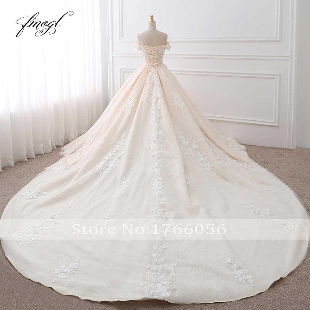 Fmogl Hoàng Gia Tàu Người Yêu Bầu Áo Cưới 2019 Appliques Hoa Vintage Phối Ren Cô Dâu Đồ Bầu Đầm Vestido De Noiva