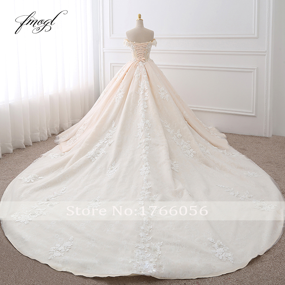 Image 2 - Fmogl Royal Train Sweetheart Ball Gown Wedding Dresses 2020 Appliques Flowers Vintage Lace Bride Gowns Vestido De Noivavestido de noivade noivagown wedding -