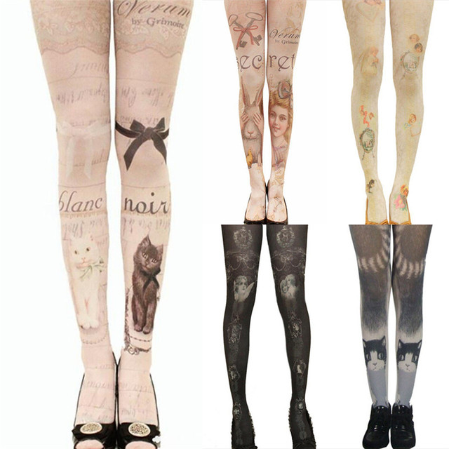 06f11242021 New Tights With Cats Harajuku Tattoo Cat Pantyhose Female Fancy Stocking  Medias Party Pants For pantyhoses