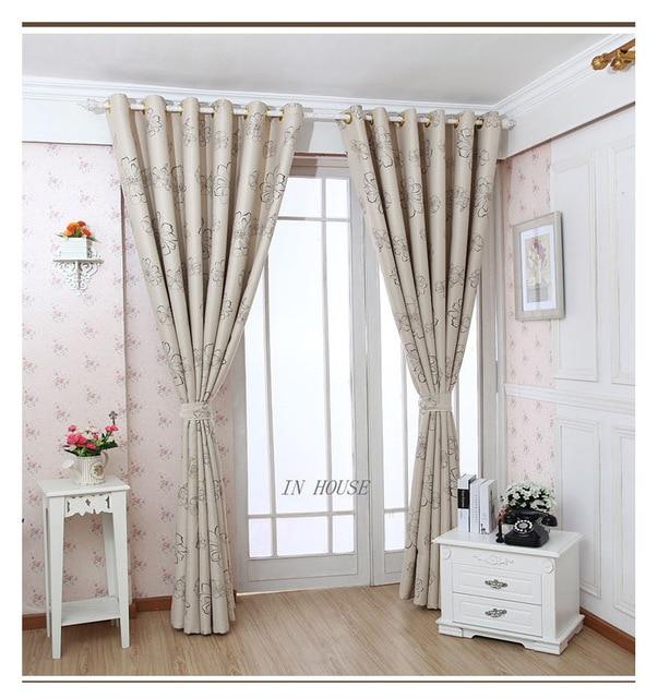 La nouvelle couleur beige tissu rideaux fini fleur rideau pour ...