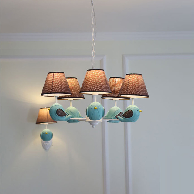 US $166.32 12% OFF|Kinderzimmer kronleuchter beleuchtung stoffschirm E14  led kinder leuchte moderne Vogel Mädchen Schlafzimmer hängen licht ...