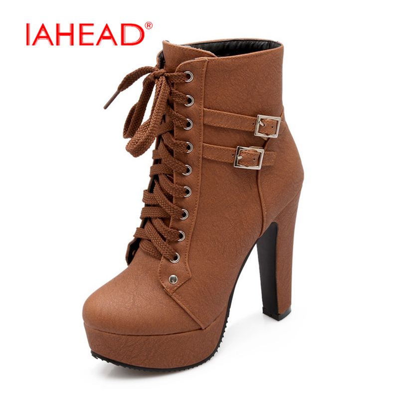 IAHEAD Fashion Women Boots High Heels Ankle Boots Platform Shoes Brand Women Shoes Autumn Winter Botas Mujer UPA351 new fashion brand design lighter high heels stretch women boots sock jersey autumn ankle boots ladies shoes woman botas mujer