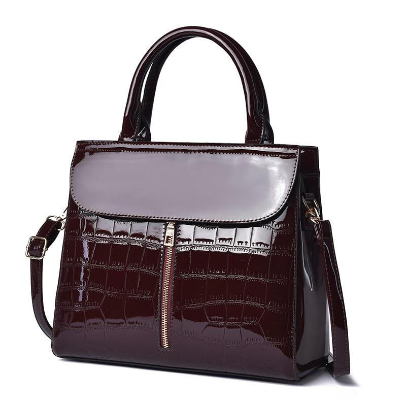 3Pc Set Handbags Designer Lady Patent Leather Tote Bags Women Shoulder Bag Lady Clutch And Purse