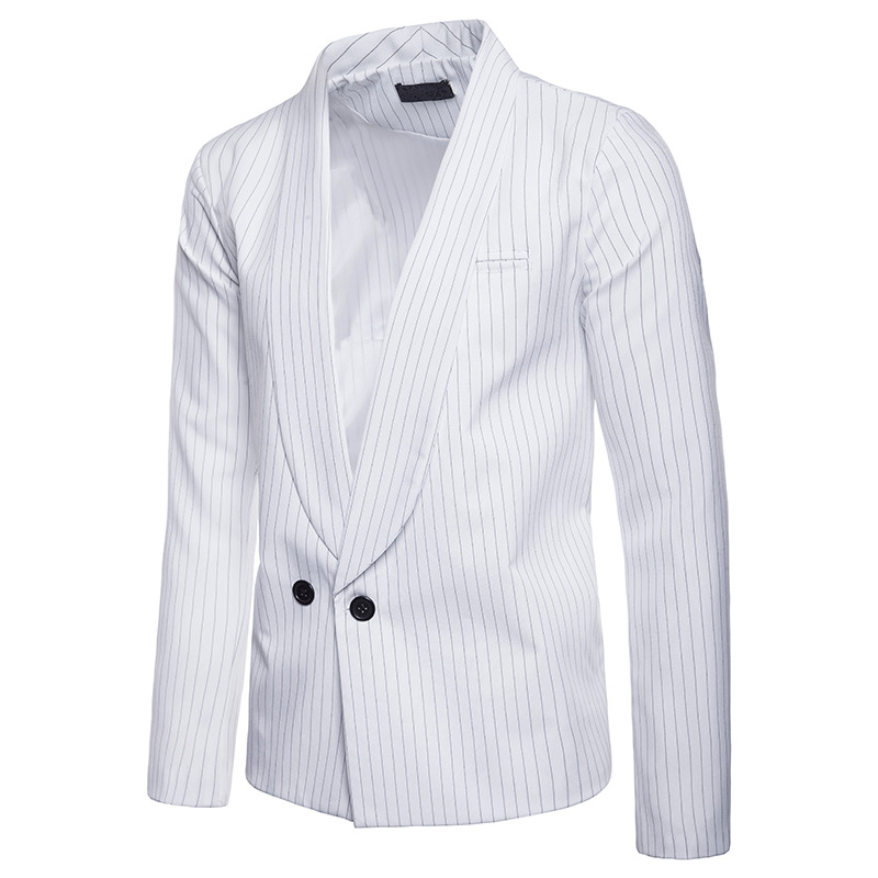 Men's One Button Blazers Striped Slim Fit Long Sleeve Casual Business Suit Casual Blazer Coat Jacket For Men