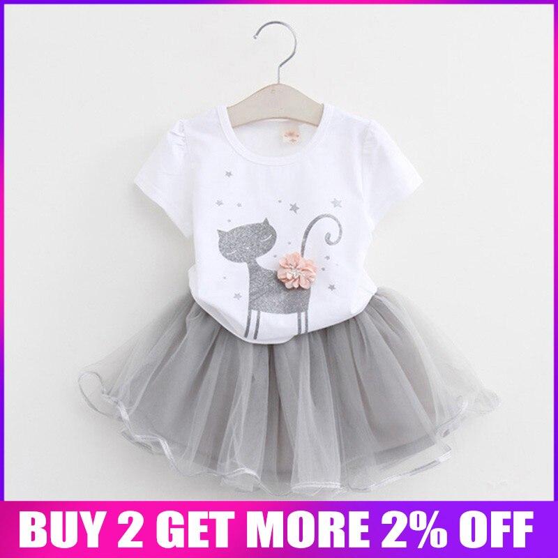 Liberal Bibicola Kinder Sommer Mädchen Kleidung Sets Baby Mädchen Kleidung Cartoon Katze Gedruckt Tops + Kleid 2 Pcs Anzug Set Mädchen Kleidung Sets Reinigen Der MundhöHle.