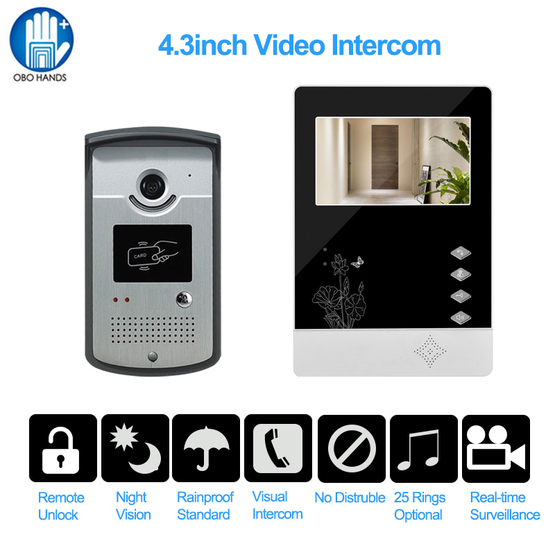 4.3inch Wired rfid Video Door Entry House IR Night Vision Intercom Camera 25 Ringtones IP54 Waterproof for Access Control System 1000m motorcycle helmet intercom bt s2 waterproof for wired wireless helmet