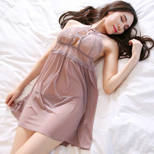תחרה גזה צוואר שינה סקסי שמלת הלבשת ספגטי רצועה מעל הברך מיני פיתוי שרוולים נשים