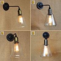 Vintage American Rural Mediterranean Glass Livingroom Wall Lamp Creative Coffee Shop Decoration Lamp Bedroom Light Free