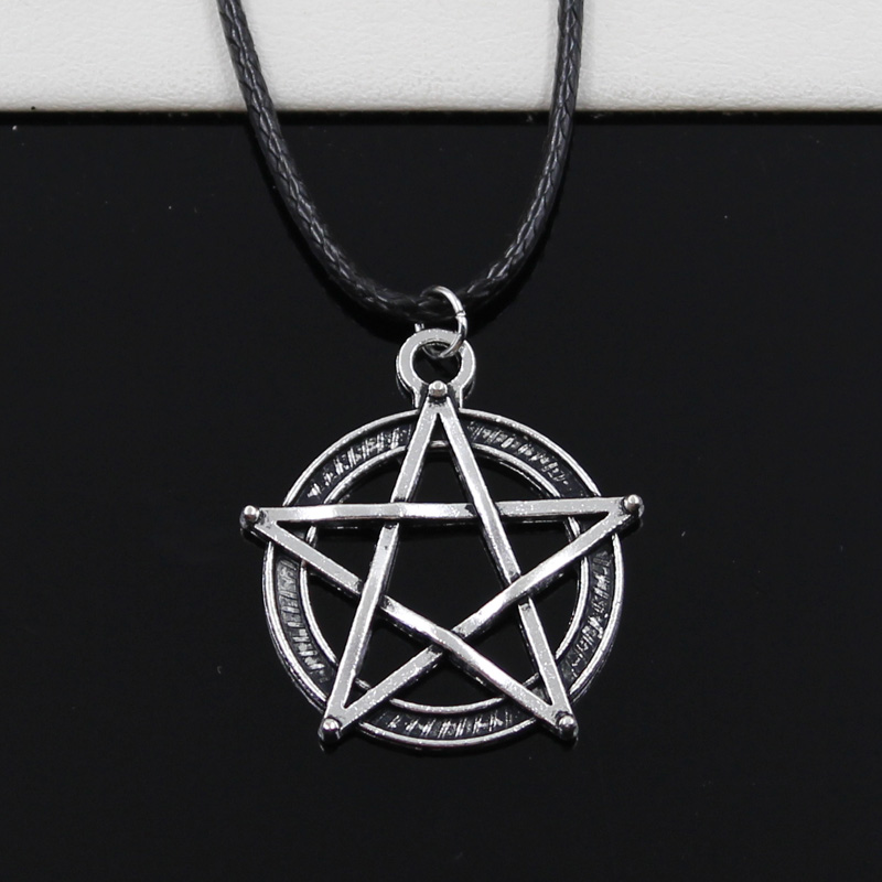 New Fashion Tibetan Silver Color Pendant Star Pentagram Necklace Choker Charm Black Leather Cord Factory Price Handmade Jewelry