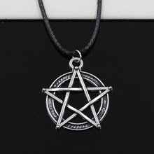 New Fashion Tibetan Silver Pendant star pentagram Necklace Choker Charm Black Leather Cord Factory Price Handmade Jewlery black leaf pendant cord choker necklace