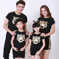 2016 Brand Summer Family Cartoon Tiger Cotton Clothing Set Short Sleeve T-shirt+ Pants Mom Dad And Daughter Fashion Clothing Set