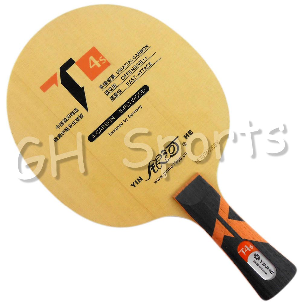 YINHE T-4 T4S Table Tennis Blade (T-4S, Hinoki Surface, 5 + 4 Carbon ) T4 Racket Ping Pong Bat Paddle