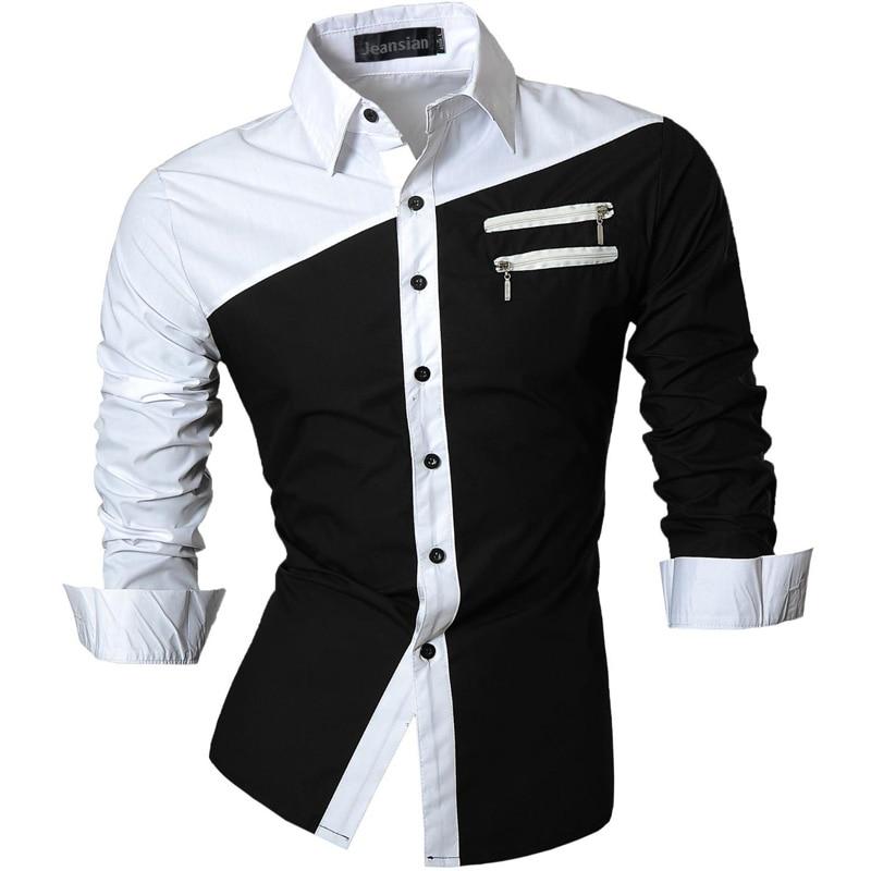 Jeansian Men's Casual Dress Shirts Fashion Desinger Stylish Long Sleeve Slim Fit 8371 Black2 2