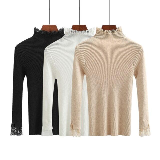 Encaje de cuello alto suéter para mujeres elástico punto Jumper ...