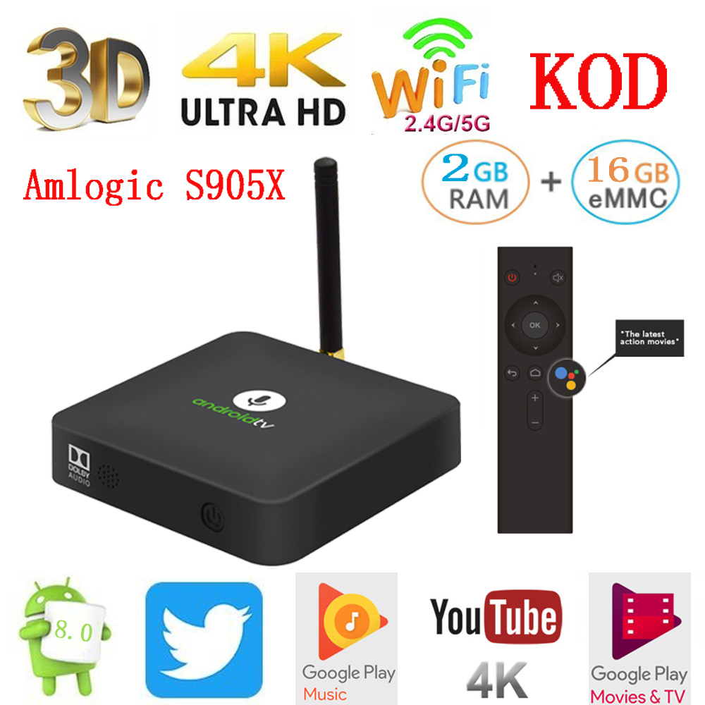 2018 LKM8 Android 8.0 TV Box Google 2GB+16GB Voice Control Smart Set Top Box Amlogic S905X VP9 HDR10 Dolby Audio 4K HD OTA
