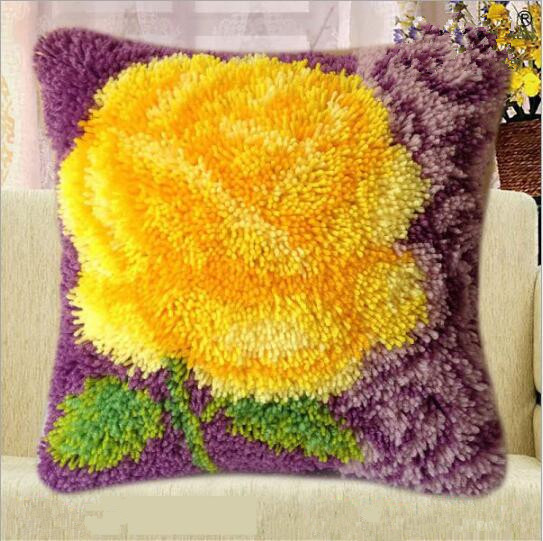 Us 16 81 48 Off Flower Latch Hook Rug Kits Pillow Tapestry Kit Embroidery Pillowcase Cushion Hold Handicrafts Do It Yourself In
