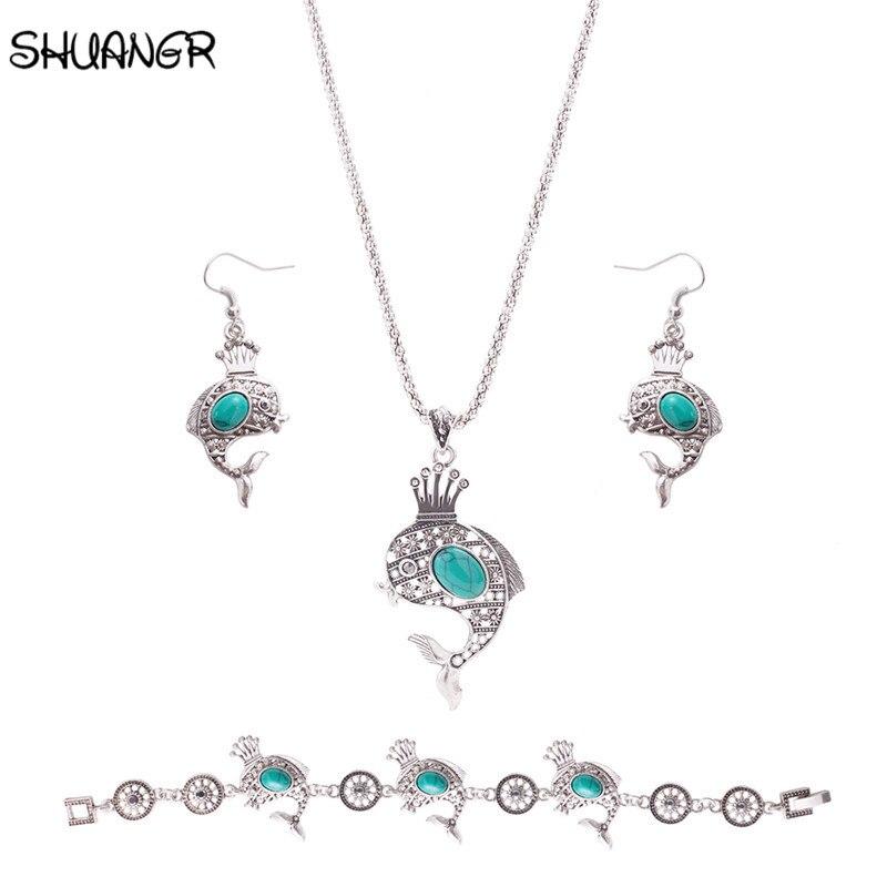 Shuangr 2 цвета Камни Дельфин король серебристый Цвет Наборы свадебных ювелирных изделий и больше для Для женщин свадебные Цепочки и ожерелья С...