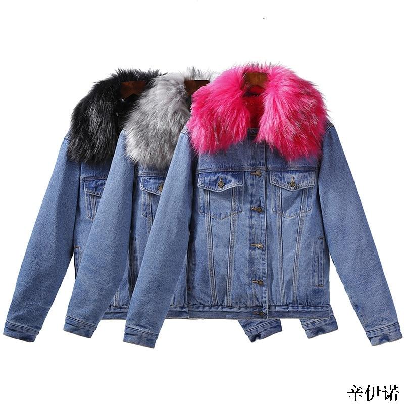 Winter Warm Fur Jeans Jacket Women Bomber Jacket Blue