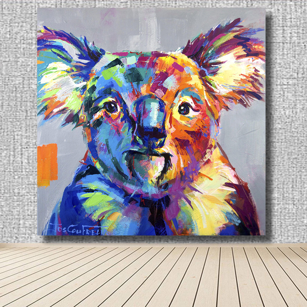 HDARTISAN Quirky Koala Animal Oil Painting Acrylic On