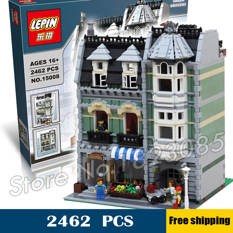 2462pcs New Green Grocer Hall 3 floors lift 3D DIY 30005 Model Building Blocks Apartments Toys Compatible with Lego a toy a dream lepin 15008 2462pcs city street creator green grocer model building kits blocks bricks compatible 10185